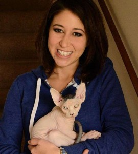 Renee and her supercool hairless Sphynx cat! (Would definitely give Cady's Mr. Piggy the hedgehog a run for his money!)